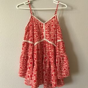 Red & White lace detail tank top